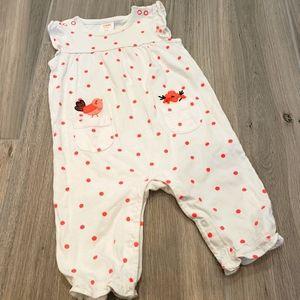 Gymboree baby onsie 3-6mo white w/ pink polka dots